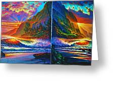 Napali Cliff's Sunset - Diptych Greeting Card by Joseph   Ruff