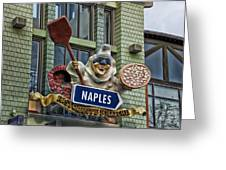Naples Pizzeria Signage Downtown Disneyland Greeting Card