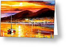Naples-sunset Above Vesuvius - Palette Knife Oil Painting On Canvas By Leonid Afremov Greeting Card
