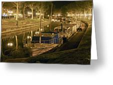 Narbonne France Canal De La Robine At Night Dsc01657  Greeting Card