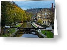 Narrow Boat Heading Up The Canal In The Fall Greeting Card