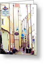 Narrow Street In Passau Germany Greeting Card