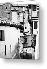 Narrow Streets Of Albarracin  Black And White Greeting Card