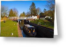 Narrowboat In Lock Greeting Card