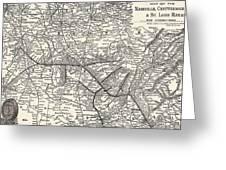 Nashville Railway Map Vintage Greeting Card
