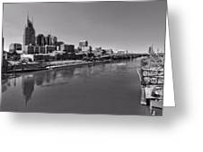 Nashville Skyline In Black And White At Day Greeting Card