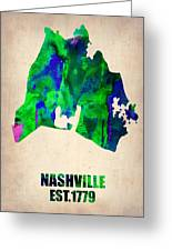 Nashville Watercolor Map Greeting Card by Naxart Studio