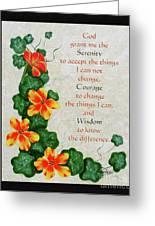 Nasturtiums And Serenity Prayer Greeting Card
