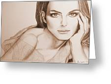 Natalie Portman Greeting Card by Kim Lagerhem