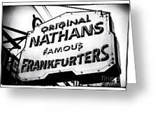 Nathans Famous Frankfurters Greeting Card