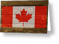 Canada National Flag On Wood Greeting Card