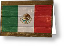Mexico National Flag On Wood Greeting Card
