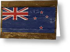 New Zealand National Flag On Wood Greeting Card