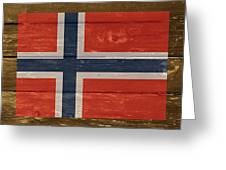 Norway National Flag On Wood Greeting Card