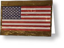 United States Of America National Flag On Wood Greeting Card