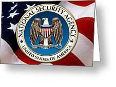 National Security Agency - N S A Emblem Emblem Over American Flag Greeting Card