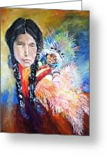 Native American And Child Greeting Card