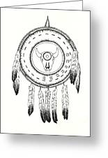 Native American Ceremonial Shield Number 2 Black And White Greeting Card