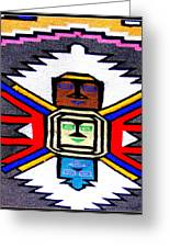 Native American Grey White Quilt Detail Greeting Card