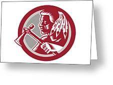 Native American Tomahawk Warrior Circle Greeting Card