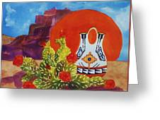 Native American Wedding Vase And Cactus Greeting Card