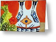 Native American Wedding Vase And Cactus-square Format Greeting Card