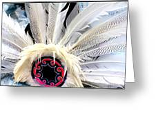 Native American White Feathers Headdress Greeting Card