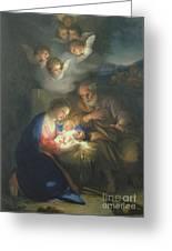 Nativity Scene Greeting Card by Anton Raphael Mengs