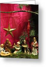Nativity Scene In Red Greeting Card