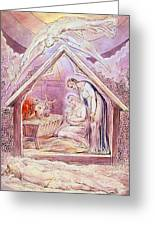 Nativity With Two Angels Greeting Card