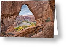Natural Arch And River Valley Canyon De Greeting Card