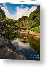 Natural Pool - The Beautiful Scene Of The Seven Sacred Pools Of Maui. Greeting Card