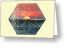 Nature And Geometry - Sunset At Sea Greeting Card
