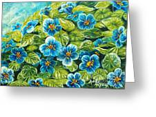 Nature Blue Flowers Original Painting Oil On Canvas Greeting Card by Drinka Mercep