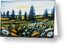 Nature Landscape Field Flowers Pines Art  Greeting Card by Drinka Mercep