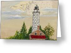 Nautical Chart Cana Island Lighthouse Greeting Card