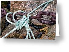 Nautical Lines And Rusty Chains Greeting Card