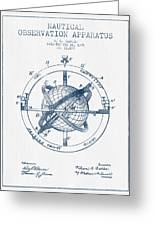 Nautical Observation Apparatus Patent From 1895  -  Blue Ink Greeting Card