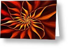 Nautilus Fractalus Fire Greeting Card