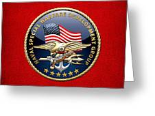 Naval Special Warfare Development Group - D E V G R U - Emblem On Red Greeting Card