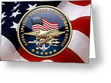 Naval Special Warfare Development Group - D E V G R U - Emblem Over U. S. Flag Greeting Card