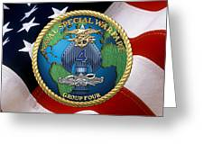 Naval Special Warfare Group Four - N S W G-4 - Over U. S. Flag Greeting Card