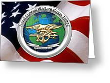 Naval Special Warfare Group Three - N S W G-3 - Over U. S. Flag Greeting Card
