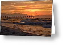 Navarre Pier At Sunrise With Waves Greeting Card