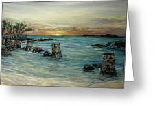Navy Beach Seaside Sunset Greeting Card