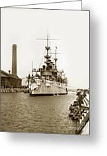 Navy Cruiser Uss New York Going Into Dry Dock San Francisco Circa 1903 Greeting Card