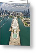 Navy Pier Chicago Aerial Greeting Card by Adam Romanowicz