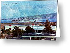 Navy Ships As A Painting Greeting Card