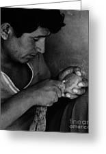 Nazca Stone Cutter Greeting Card
