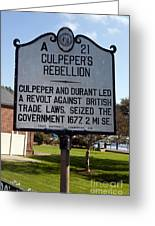 Nc-a21 Culpepers Rebellion Greeting Card